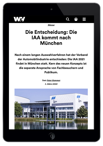 LIGANOVA | Latest in the press | W&V IAA kommt nach München